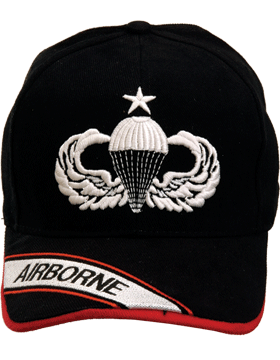 Cap (DC-AR/301) Black with Senior Parachutist Badge (3D) and Airborne
