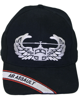 Cap (DC-AR/303) Black with Air Assault Badge (3D) with Bill Embroidery