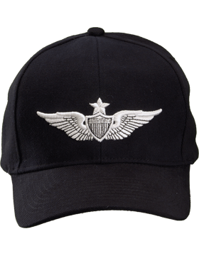 Cap (DC-AR/306) Black with Senior Aviator Badge (3D)