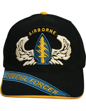 Cap (DC-AR/502) Black with Parachutist Wings and Special Forces Patch (3D)