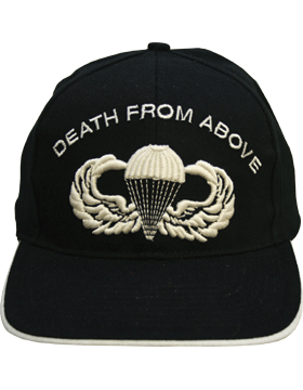 Cap (DC-AR/600) Black with Large Parachutist Wings and