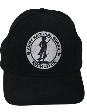 Cap (DC-AR/808) Black with National Guard Basic Recruiter Badge Silver