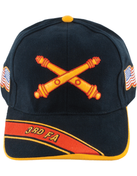 Cap (DC-AR/BOS-0003B) Black with 3 Field Artillery Branch Of Service