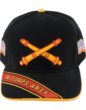 Cap (DC-AR/BOS-0003D) Black with 3 Corps Artillery Branch Of Service
