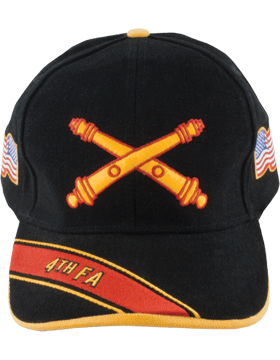 Cap (DC-AR/BOS-0004B) Black with 4 Field Artillery Branch Of Service