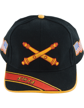 Cap (DC-AR/BOS-0005A) Black with 5 Field Artillery Branch Of Service