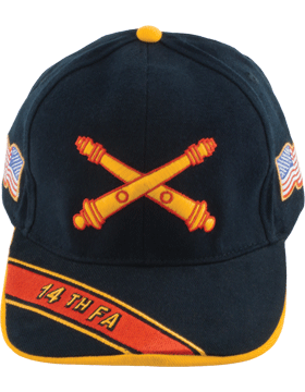 Cap (DC-AR/BOS-0014A) Black with 14 Field Artillery Branch Of Service
