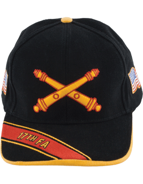 Cap (DC-AR/BOS-0017A) Black with 17 Field Artillery Branch Of Service