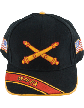 Cap (DC-AR/BOS-0018A) Black with 18 Field Artillery Branch Of Service