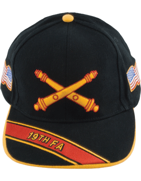 Cap (DC-AR/BOS-0019A) Black with 19 Field Artillery Branch Of Service