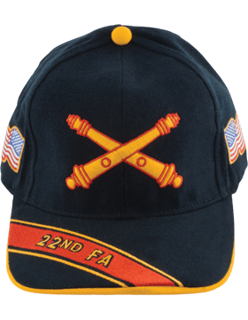 Cap (DC-AR/BOS-0022A) Black with 22 Field Artillery Branch Of Service