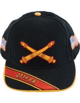 Cap (DC-AR/BOS-0027A) Black with 27 Field Artillery Branch Of Service