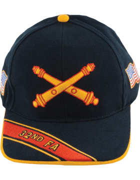 Cap (DC-AR/BOS-0032A) Black with 32 Field Artillery Branch Of Service