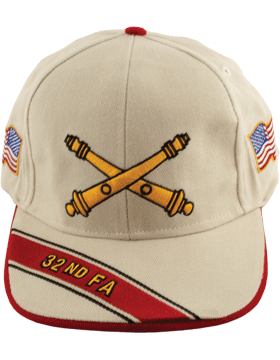 Cap (DC-AR/BOS-0032B) Stone with 32 Field Artillery Branch Of Service