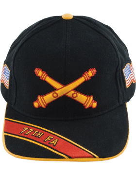 Cap (DC-AR/BOS-0077A) Black with 77 Field Artillery Branch Of Service