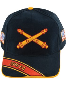 Cap (DC-AR/BOS-0079A) Black with 79 Field Artillery Branch Of Service
