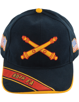 Cap (DC-AR/BOS-0080A) Black with 80 Field Artillery Branch Of Service