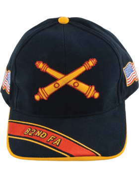 Cap (DC-AR/BOS-0082A) Black with 82 Field Artillery Branch Of Service