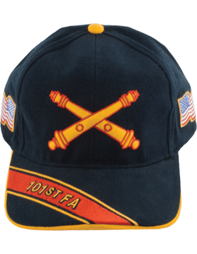 Cap (DC-AR/BOS-0101A) Black with 101 Field Artillery Branch Of Service