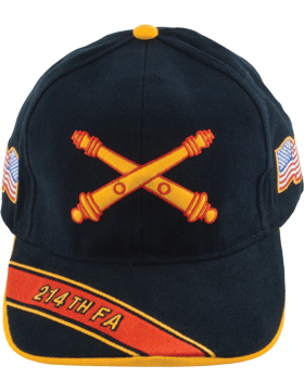 Cap (DC-AR/BOS-0214A) Black with 214 Field Artillery Branch Of Service