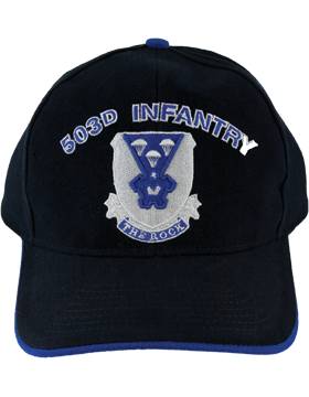 Cap (DC-AR/DUI-0503A) Black with 503 Infantry Crest