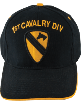 Cap (DC-AR/P-0001B) Black with 1 Cavalry Division Patch