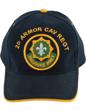 Cap (DC-AR/P-0002A) Black with 2 Armor Cavalry Regiment Patch