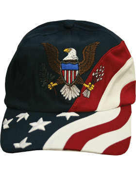 Cap (DC-FL-0002A) Navy with American Flag and Army Eagle (3D)