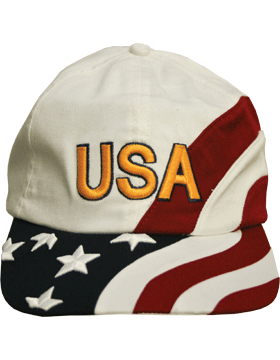 Cap (DC-FL/0003A) White with American Flag and USA (3D)