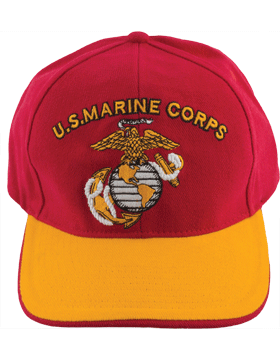 Cap (DC-MC/001A) Red with Gold Bill with U.S. Marine Corps & Globe & Anchor (3D)