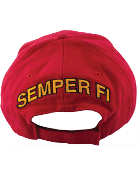 Cap (DC-MC/001A) Red with Gold Bill with U.S. Marine Corps & Globe & Anchor (3D) small