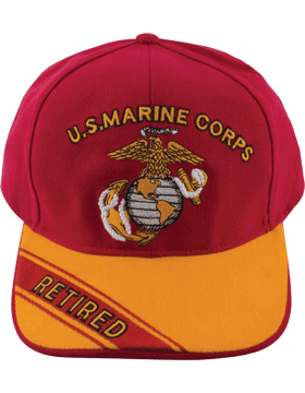 Cap (DC-MC/002A) Red with Gold Bill with USMC & Globe & Anchor Retired (3D)