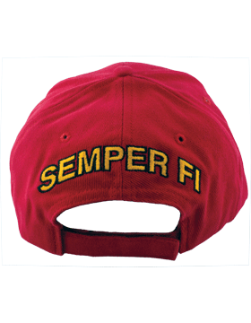Cap (DC-MC/002A) Red with Gold Bill with USMC & Globe & Anchor Retired (3D) small