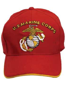 Cap (DC-MC/004A) Red with U.S. Marine Corps & Globe & Anchor (3D) small