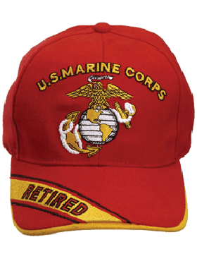 Cap (DC-MC/005A) Red with U.S. Marine Corps & Globe & Anchor Retired (3D)