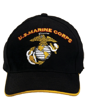 Cap (DC-MC/007A) Black with U.S. Marine Corps & Globe & Anchor (3D)