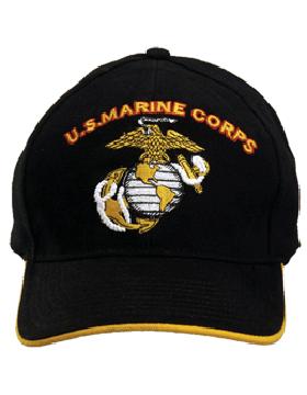 Cap (DC-MC/007A) Black with U.S. Marine Corps & Globe & Anchor (3D) small