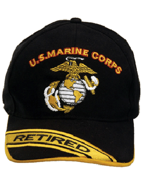 Cap (DC-MC/008A) Black with USMC & Globe & Anchor Retired (3D)