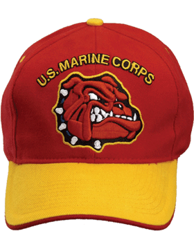 Cap (DC-MC/016A) Red with Gold Bill with U.S. Marine Corps and Bulldog (3D)