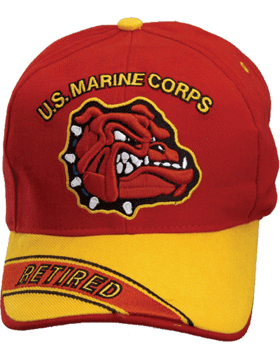 Cap (DC-MC/017A) Red with Gold Bill with USMC and Bulldog Retired (3D)