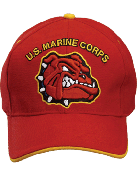Cap (DC-MC/018A) Red with U.S. Marine Corps and Bulldog (3D)