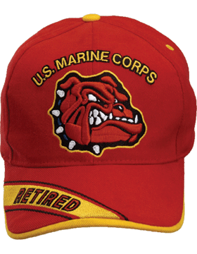 Cap (DC-MC/019A) Red with U.S. Marine Corps and Bulldog Retired (3D)