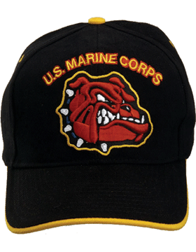 Cap (DC-MC/020A) Black with U.S. Marine Corps and Bulldog (3D)