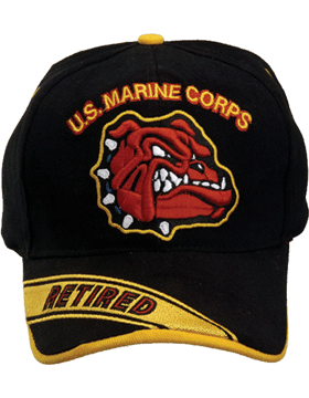 Cap (DC-MC/021A) Black with U.S. Marine Corps and Bulldog Retired (3D)