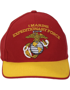 Cap (DC-MC/100A) Red with  Gold Trim with  I Marine Exped Force & Globe & Anchor