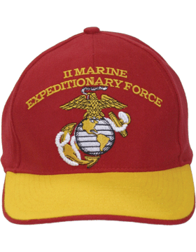 Cap (DC-MC/101A) Red with  Gold Trim with  II Marine Exped Force & Globe & Ancho