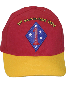 Cap (DC-MC/P-001A) Red with Gold Bill with 1 Marine Division Patch