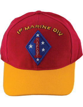 Cap (DC-MC/P-001) Red with Gold Bill with 1 Marine Division Patch