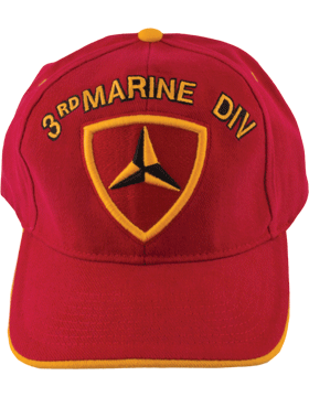 Cap (DC-MC/P-003A) Red with 3 Marine Division Patch