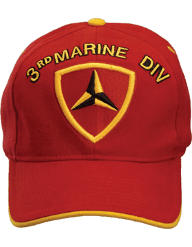 Cap (DC-MC/P-003) Red with Gold Bill with 3 Marine Division Patch